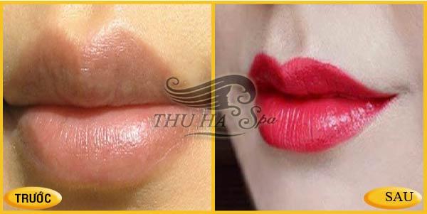 Trước và sau khi phun môi thẩm mỹ tại Thu Hà Spa Thanh Hóa