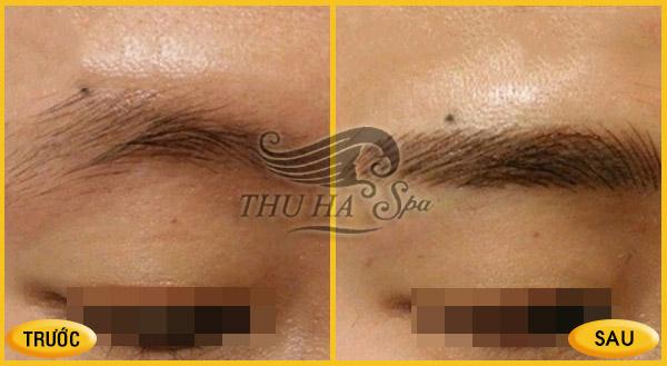 Trước và sau khi điêu khắc lông mày tại Thu Hà Spa.